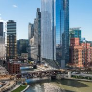 Riverside office tower in Chicago by Goettsch Partners rises from sharply tapered base