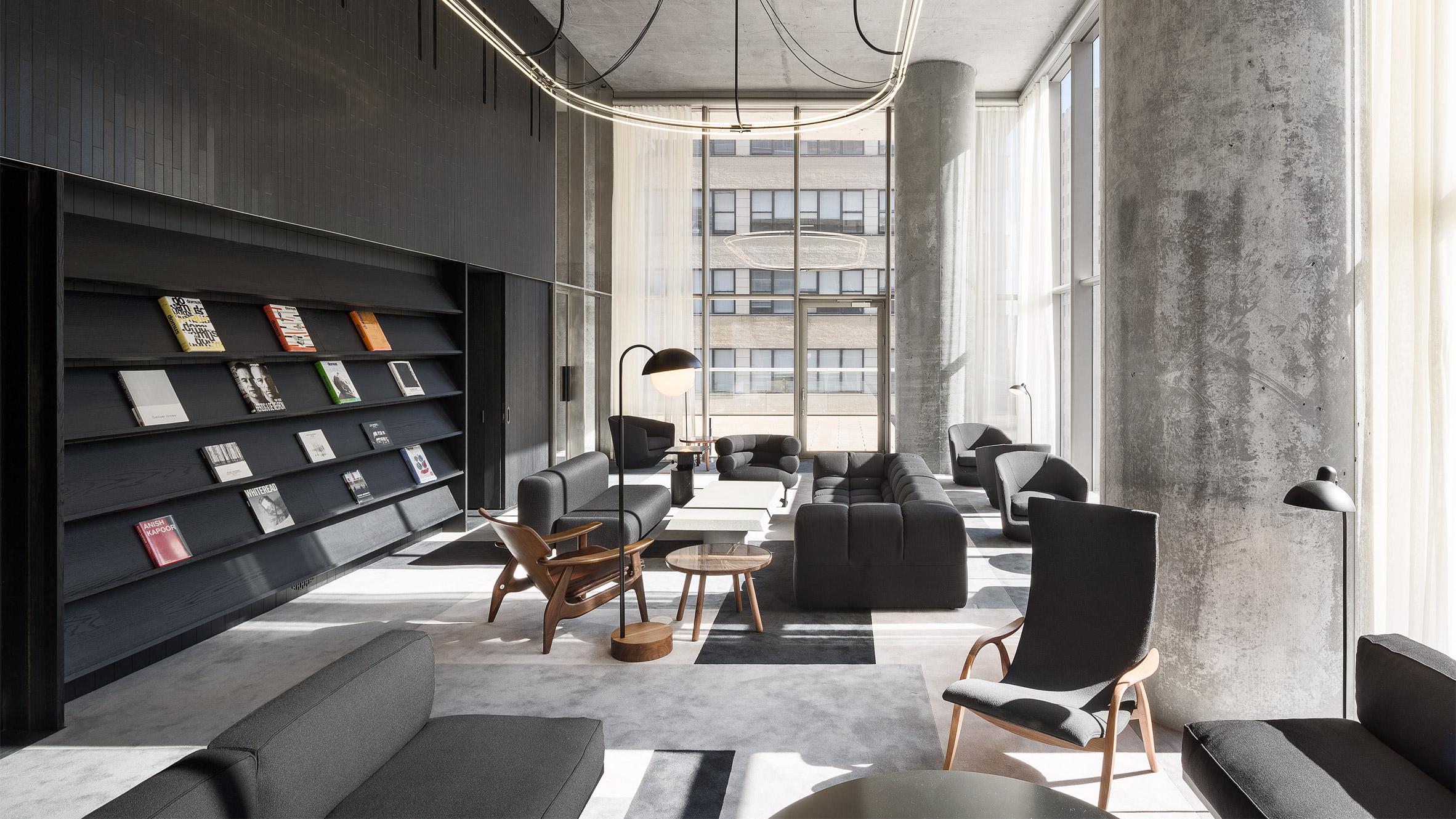Interior of amenities of 56 Leonard by Herzog & de Meuron