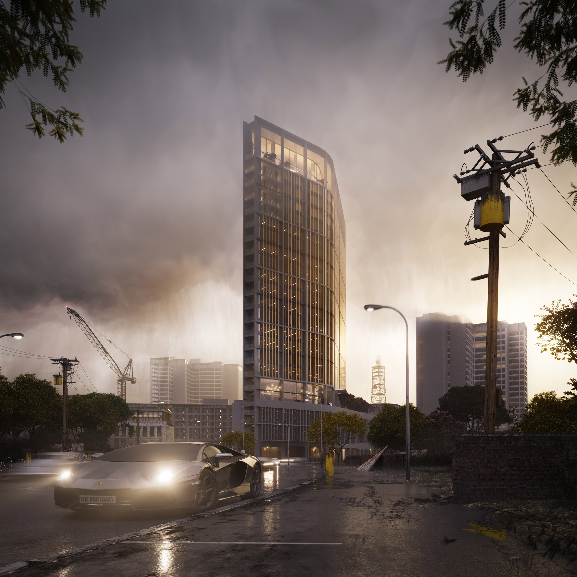 Richard Keep and Henry Goss unveil plans for Nairobi tower in rainy renderings