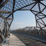 Latticed bamboo bridge by Mimesis Architecture Studio references Jiangsu's craft traditions
