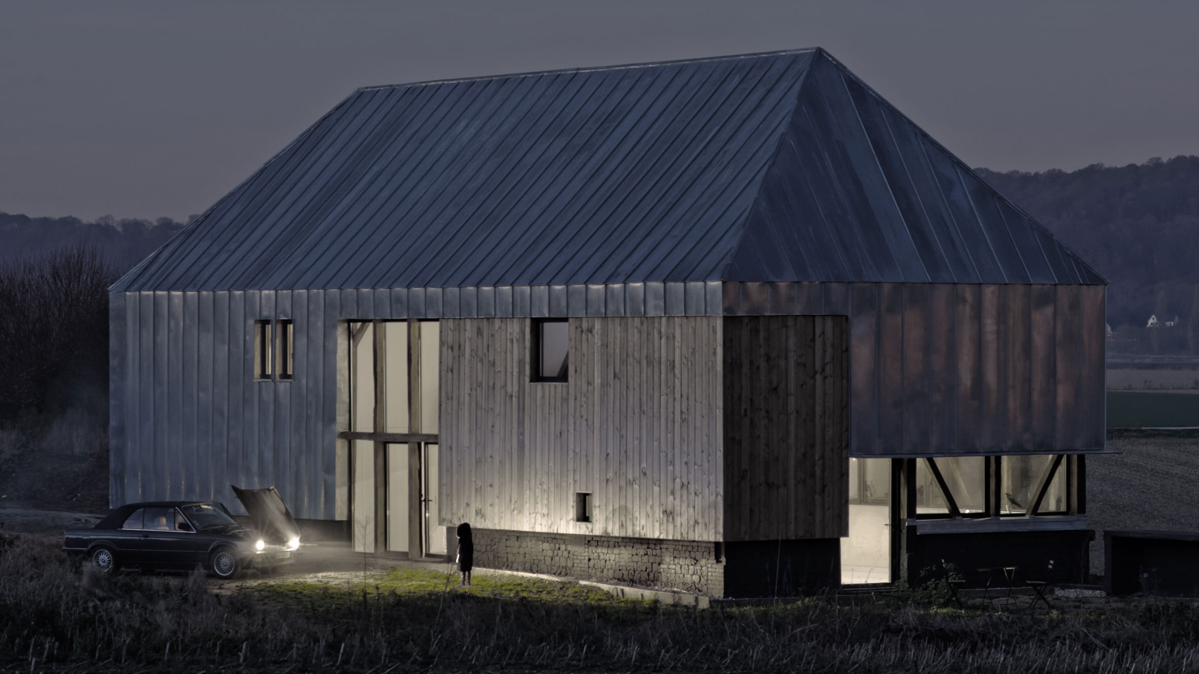 Antonin Ziegler Covers Abandoned Barn In Zinc Plates To Create Rustic Home Northern France