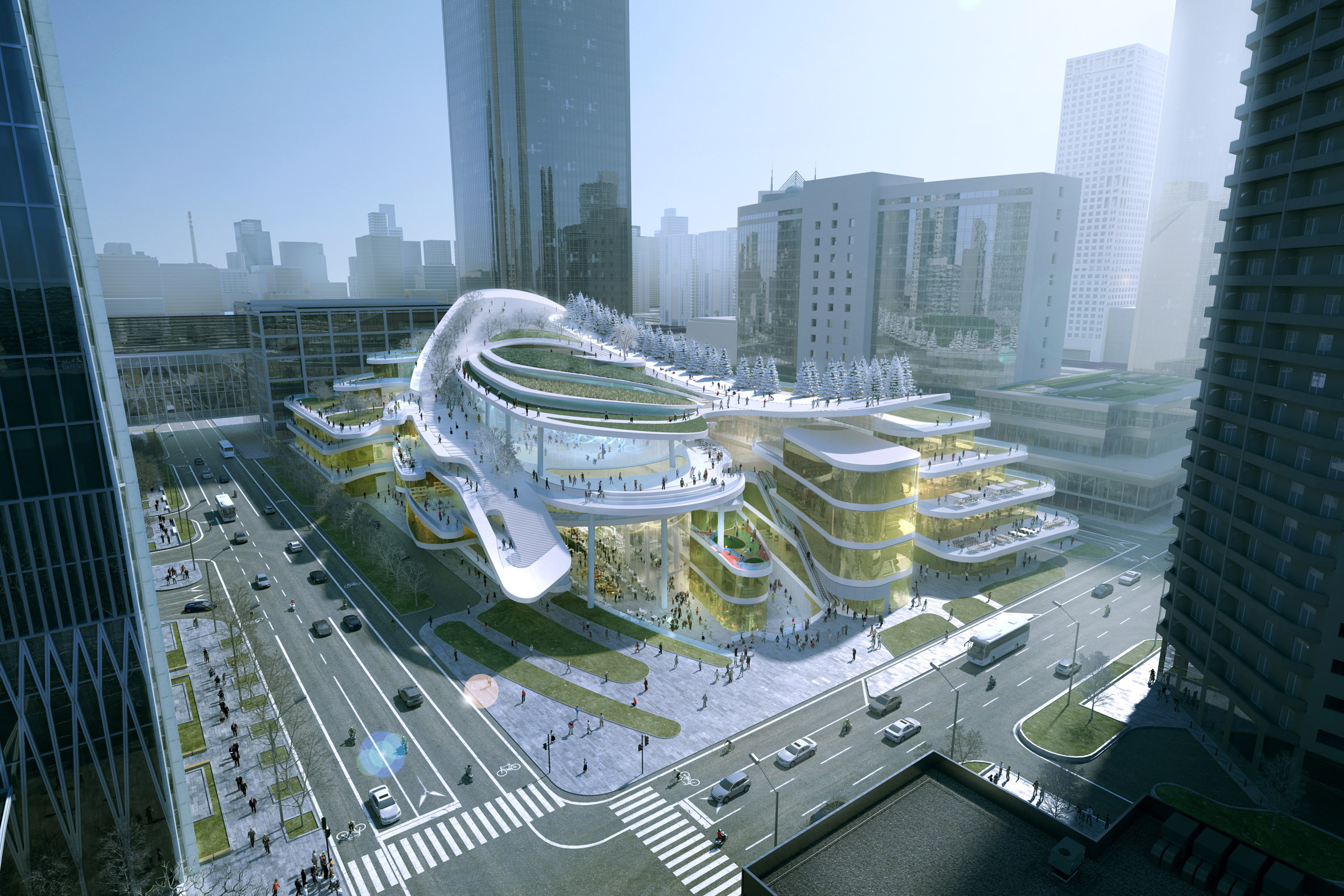 Sledding path to loop around roof garden of Beijing civic centre by Andrew Bromberg