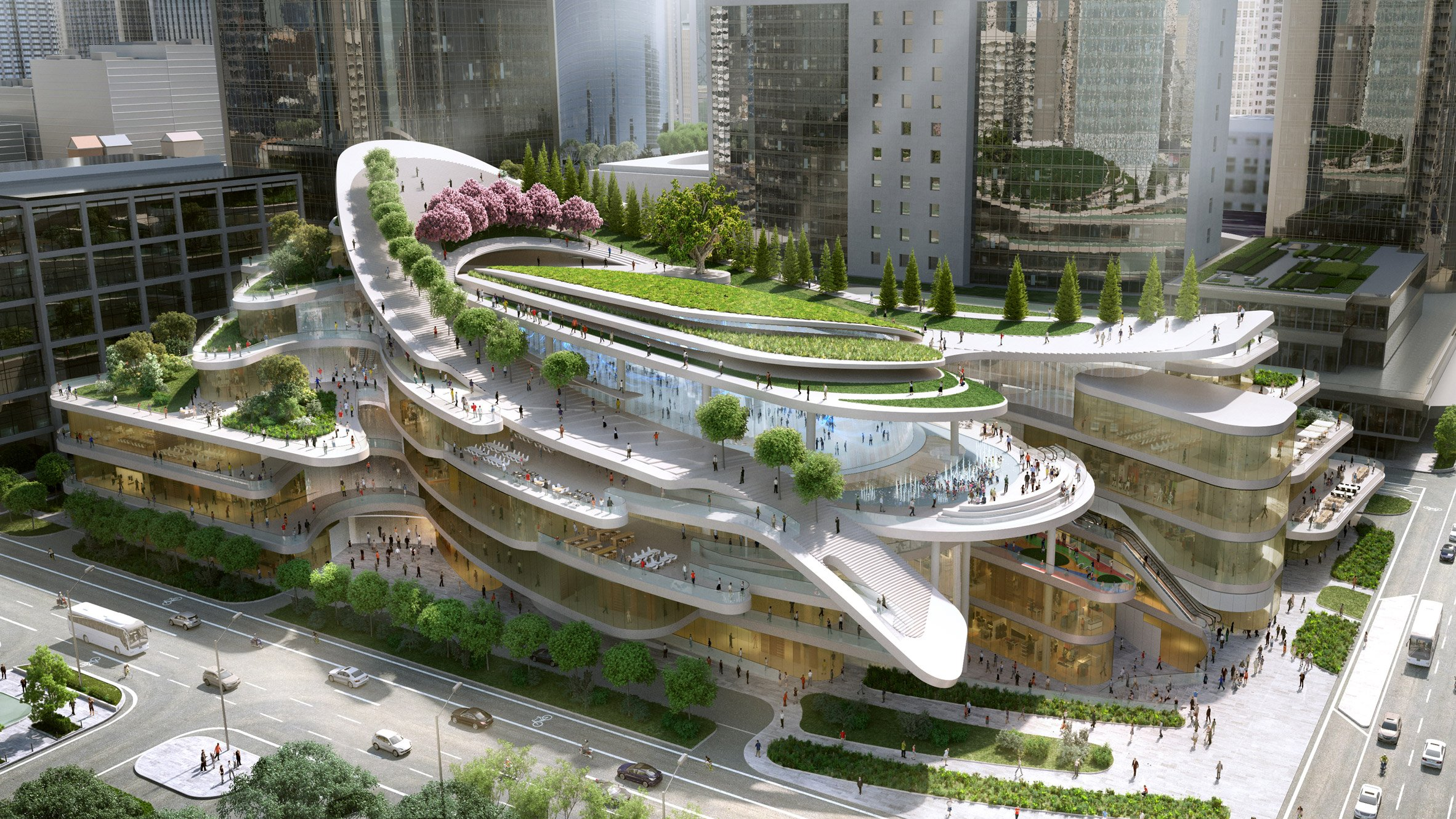 Beau Sledding Path To Loop Around Roof Garden Of Beijing Civic Centre By Andrew  Bromberg