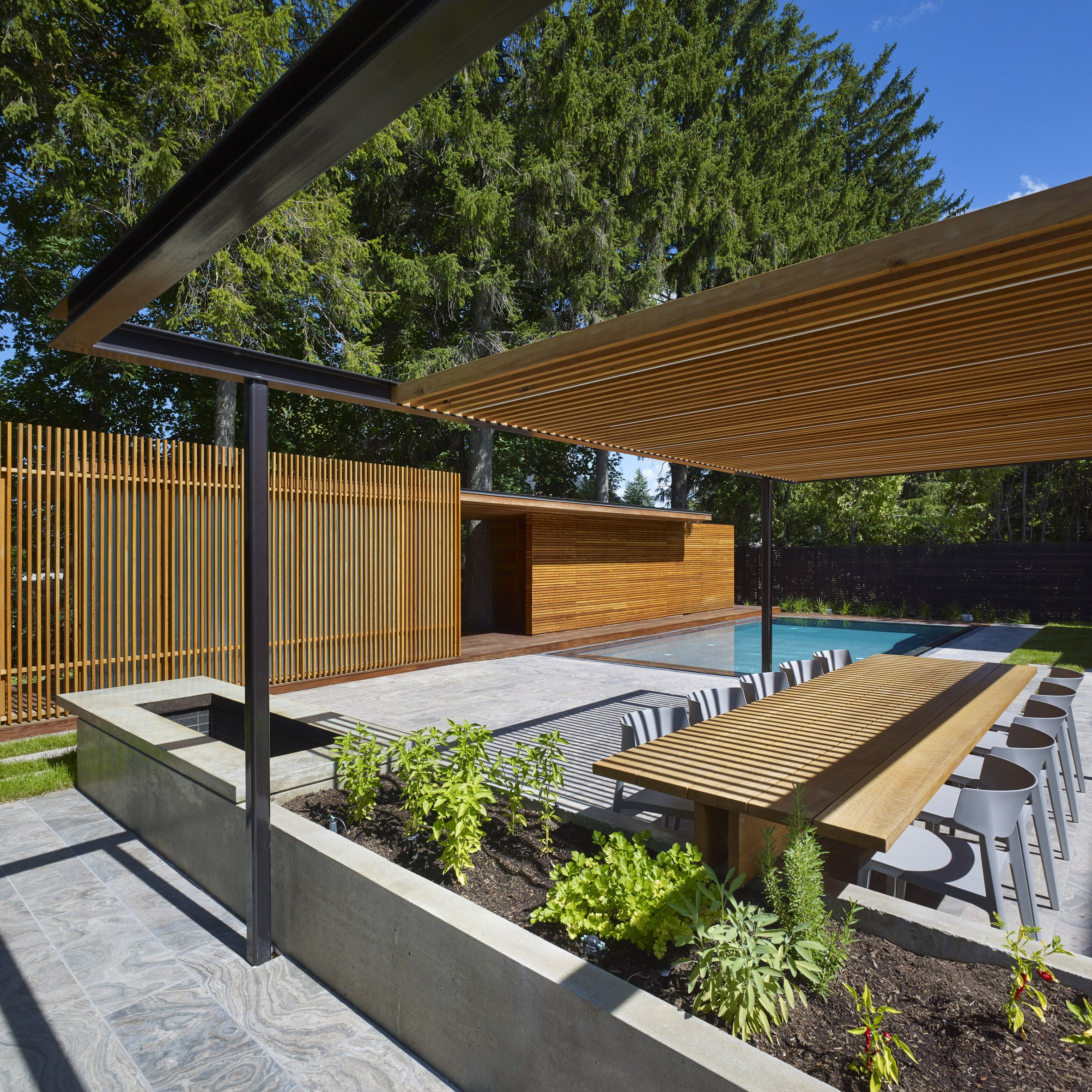 pool house design and architecture dezeen wooden pool house by amantea architects provides privacy for canadian family