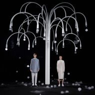 Studio Swine and COS create sculptural tree that blossoms with mist-filled bubbles