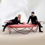 Front's Dune furniture for Offecct is both sofa and temporary workstation for busy environments