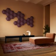 Bang & Olufsen's modular BeoSound Shape speakers are arranged like wall tiles