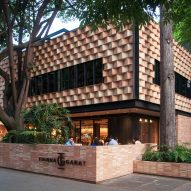 Faceted clay panels form Mexico City cafe by Esrawe and Cadena