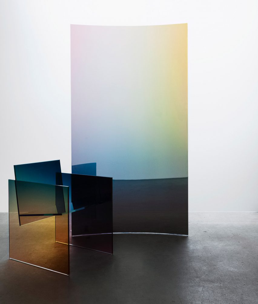 Ombre glass screens and chairs by Germans Ermičs