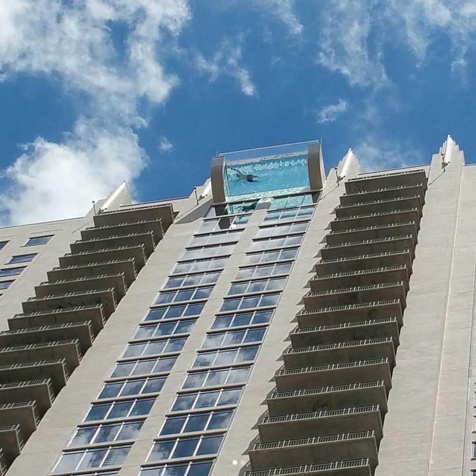 Sky Pool glass-bottomed sky pool suspends swimmers 500 feet above houston