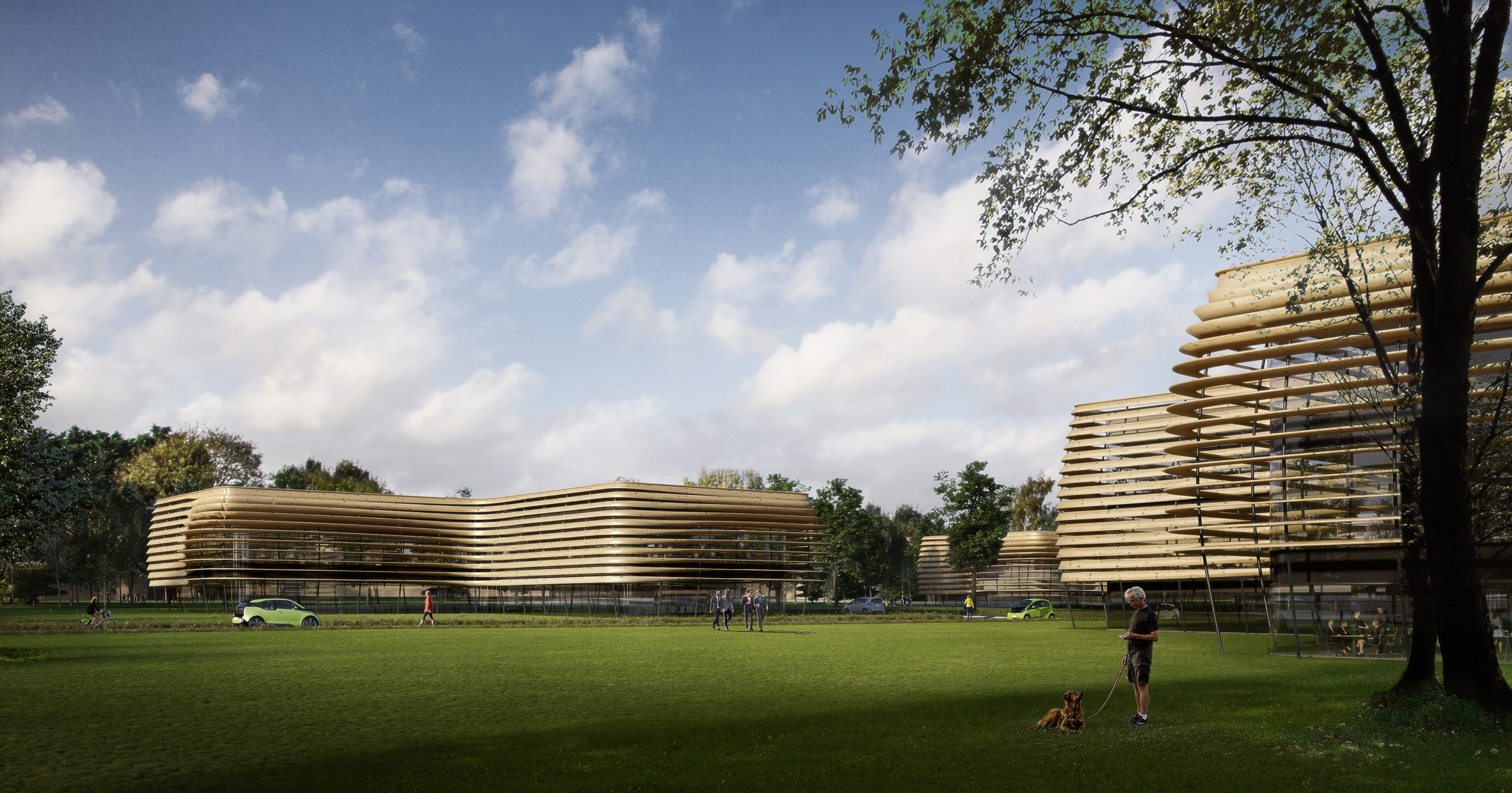 Zaha Hadid Architects reveals greenhouse-like technology hub to accompany world's first wooden football stadium