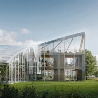 Zaha Hadid Architects reveals greenhouse-like technology hub to accompany world's first wooden football stadium
