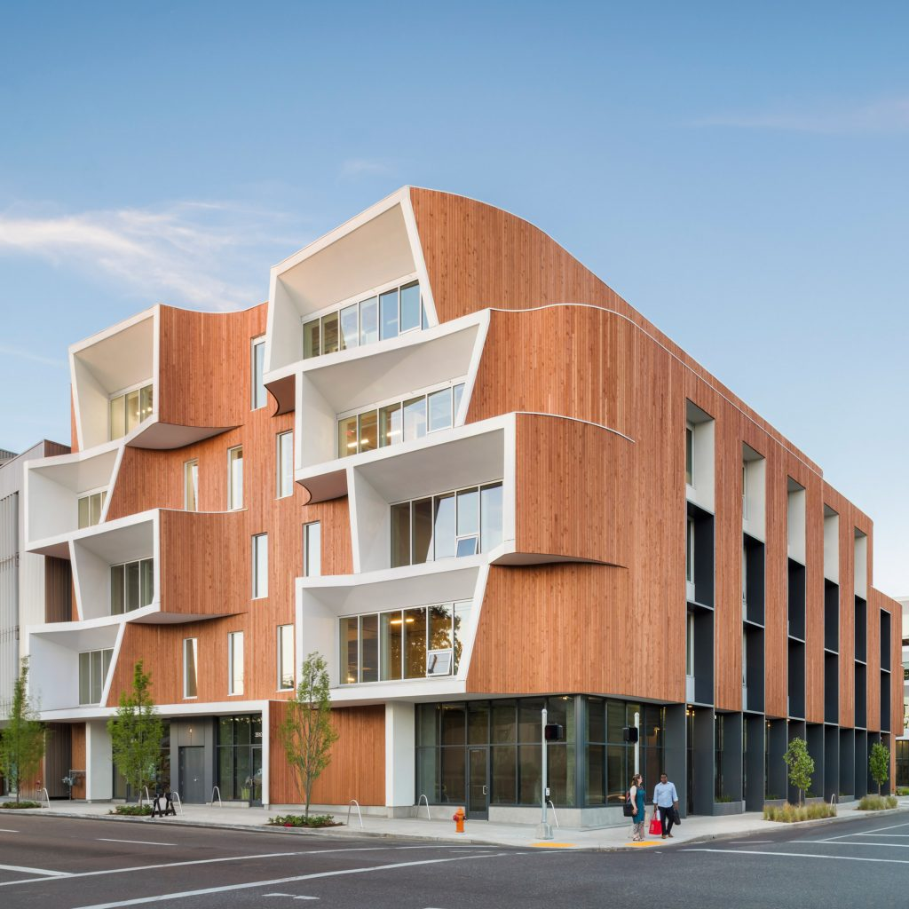 Holst Architecture wraps curvaceous facades of Portland office buildings in cedar