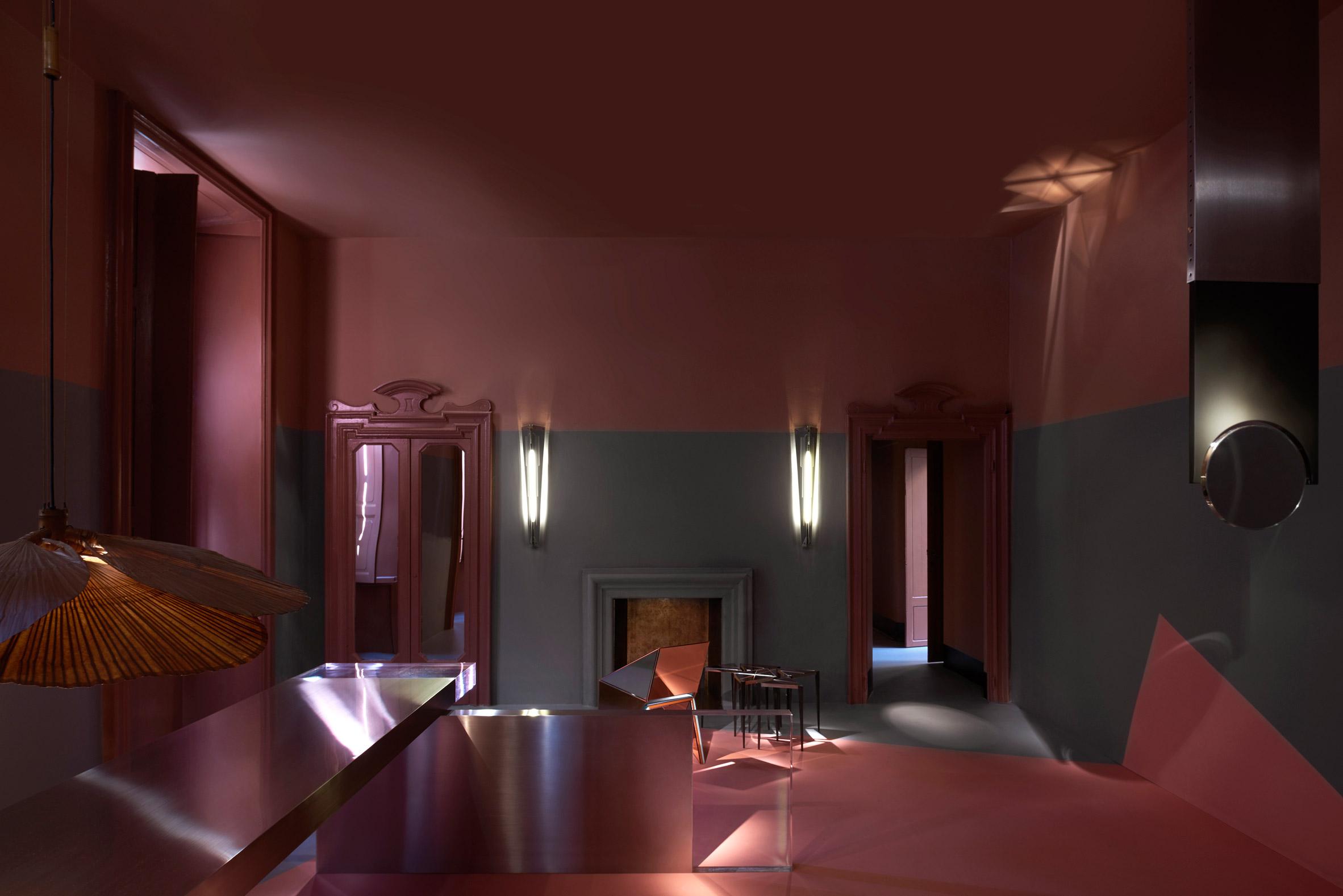 Design eras converge in Dimorestudio's moodily coloured Milan exhibitions