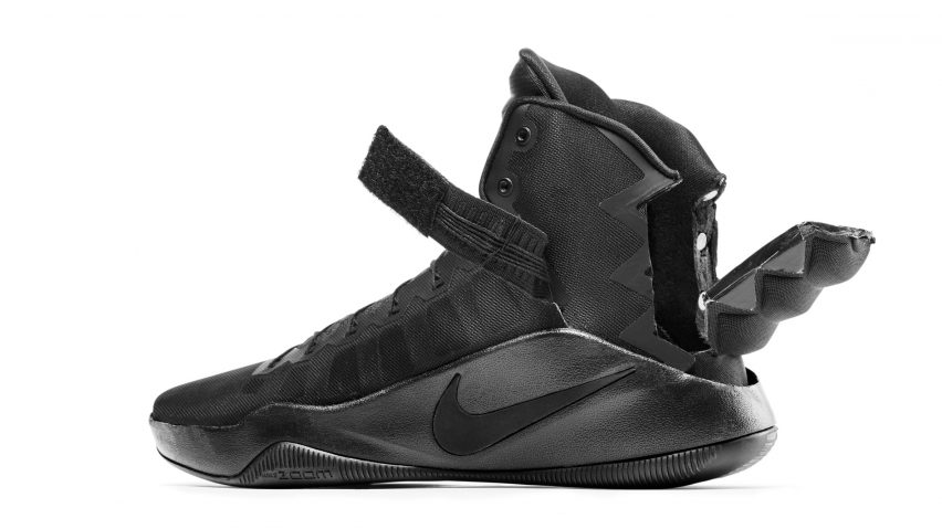 buy online 83aca 27fc5 ... on, secure or remove their trainers. Its winning design was by Brett  Drake, an architectural engineer from Wyoming, who modified Nike s  Hyperdunk shoe ...