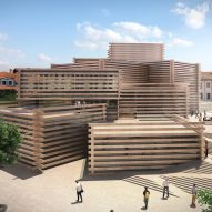 Kengo Kuma unveils stacked wooden box design for Turkish art museum