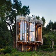 Malan Vorster's treehouse-like residence offers views of Cape Town forest