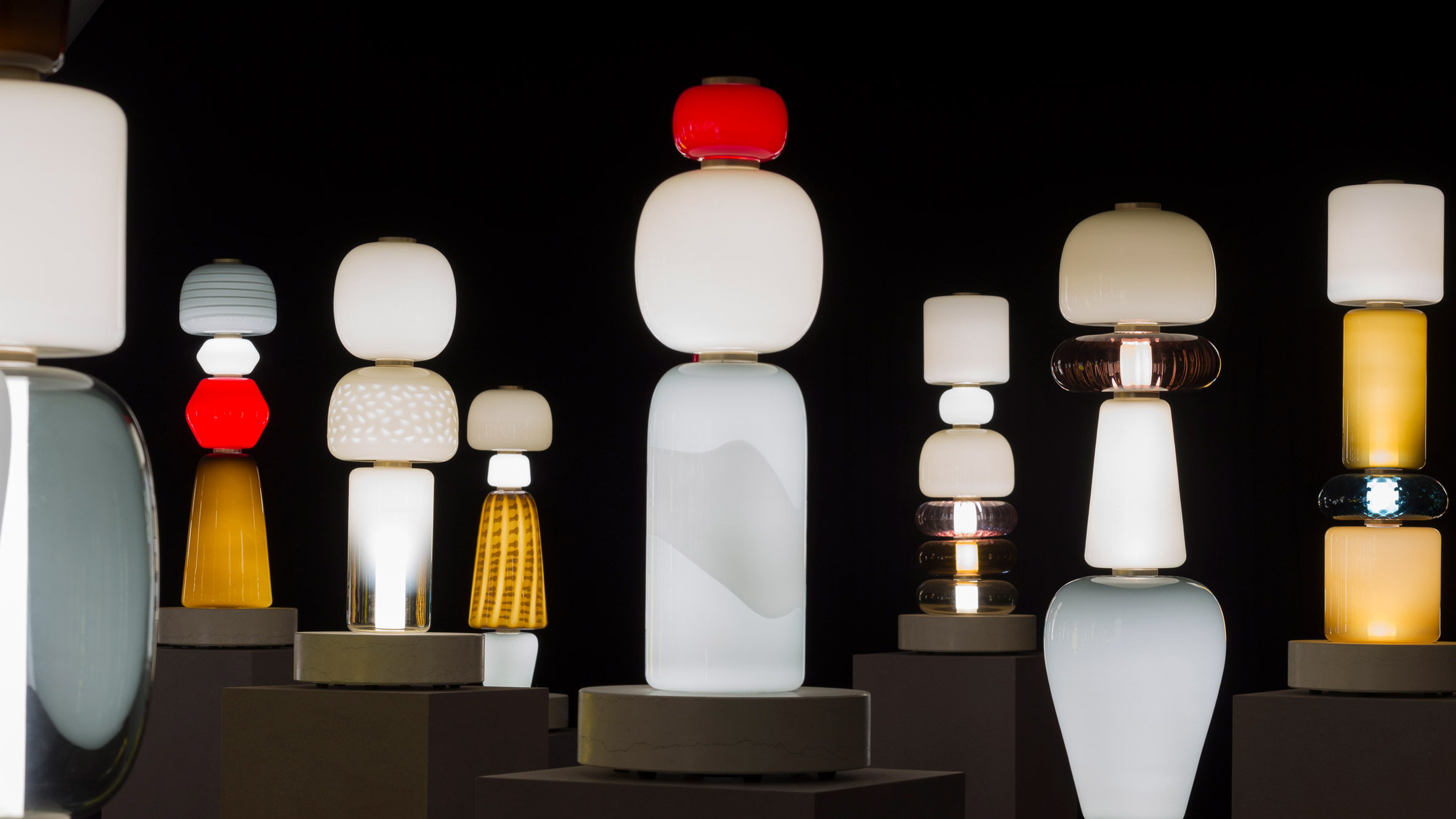 decode lighting. Luca Nichetto Fills Room With Totem-like Glass Lamps For Decode/Recode Exhibition Decode Lighting