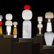 Luca Nichetto fills room with totem-like glass lamps for Decode/Recode exhibition