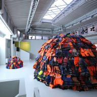 16-year-old artist builds igloos from refugee life jackets for Moroso installation