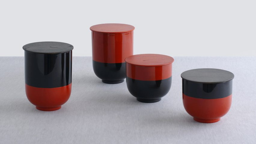 Industrial facility designs stretched versions of traditional japanese lacquerware for store collection