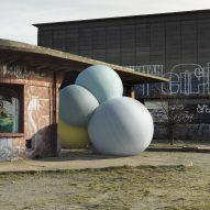 Charles Pétillon's photographs combine giant balloons and concrete architecture