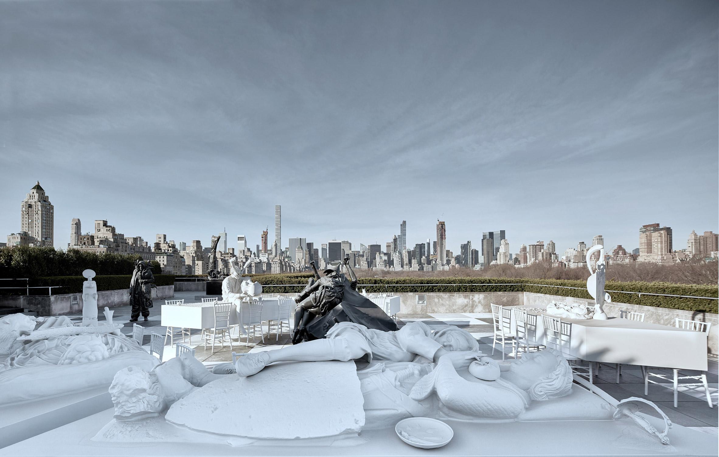 Adrián Villar Rojas installs banquet of hybrid sculptures on roof of New York's Met