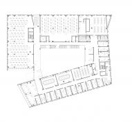 Plan of the University of Massachusetts Amherst's design school by Leers Weinzapfel Associates