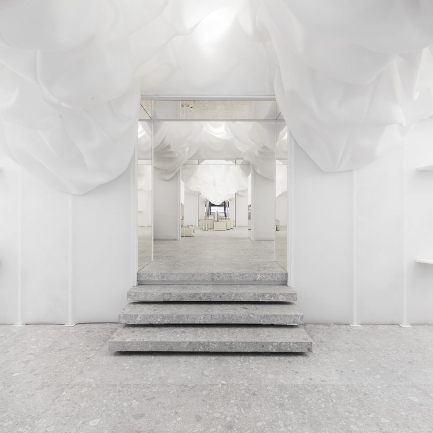 10fe96bce413 Snarkitecture creates billowing all-white pop-up store for Valextra in Milan
