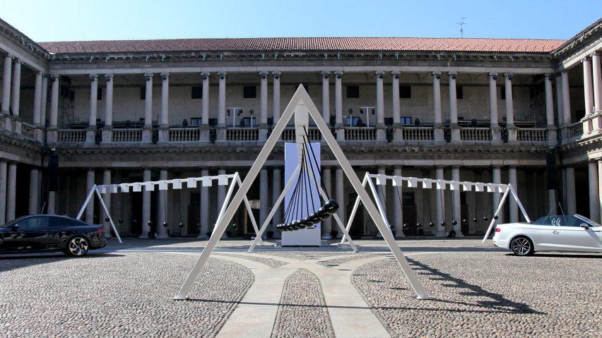 Sonic Pendulum installation by Yuri Suzuki