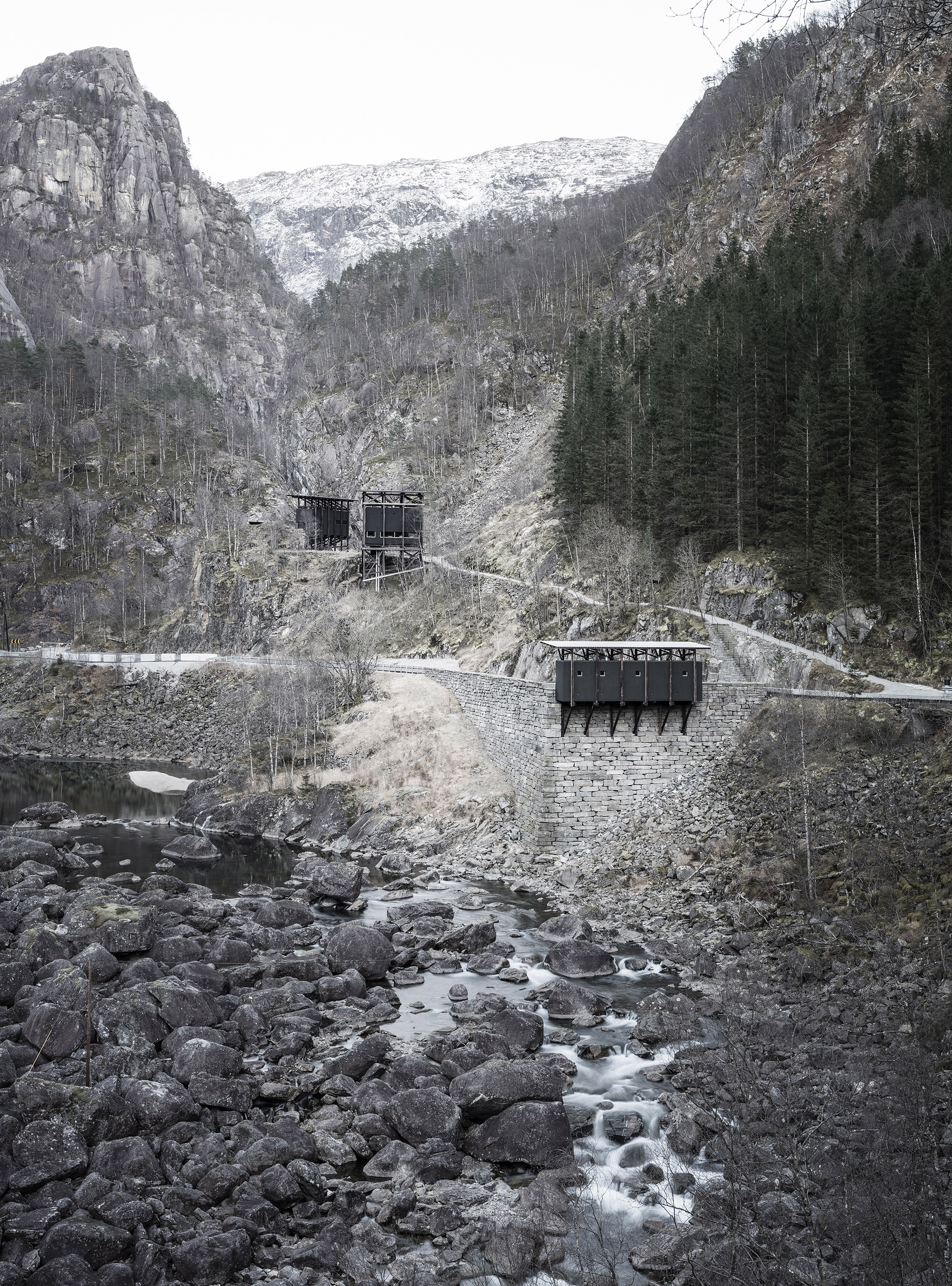 Peter Zumthor's stilted Zinc Mine Museum captured in photography by Aldo Amoretti