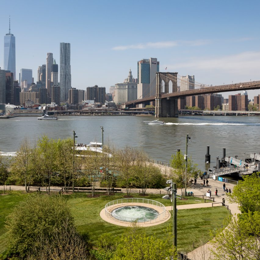 Anish Kapoor's Descension installed in Brooklyn Bridge Park