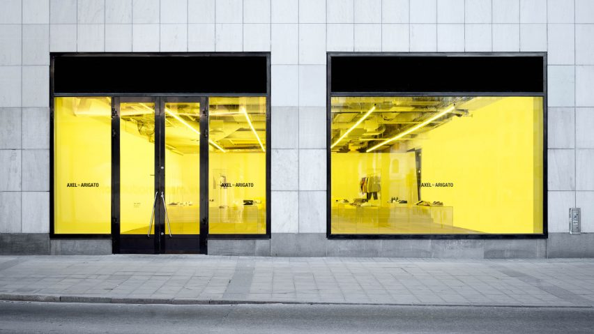 7fc8f8505634 Christian Halleröd uses yellow accents for Axel Arigato Gallery in Stockholm