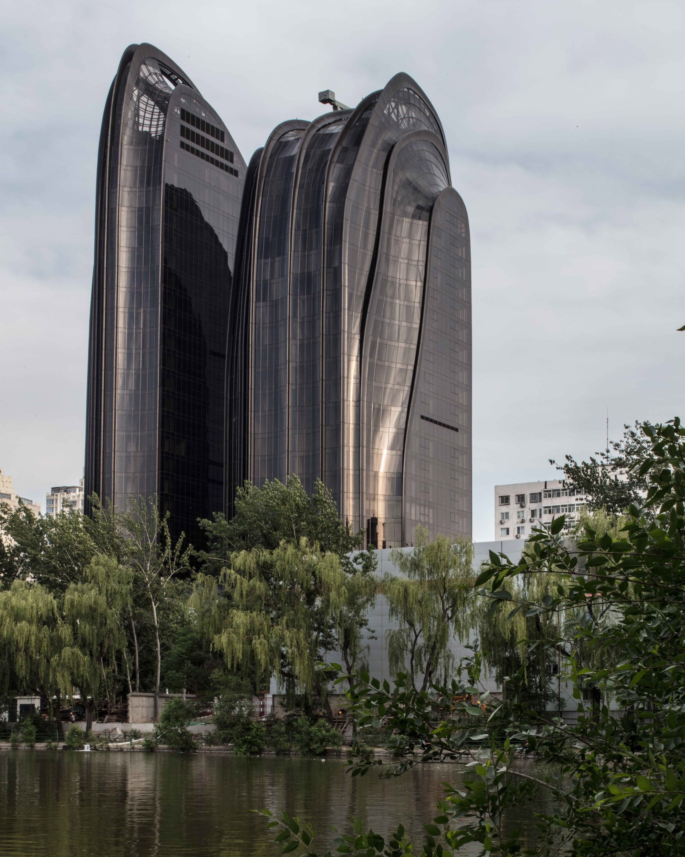 MAD's mountain-shaped tower complex nears completion in Beijing