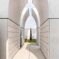 Trio of broken arches house ossuaries in northern Italian cemetery