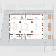 Ground floor plan of Center for Jewish Life at Drexel University by Stanley Saitowitz | Natoma Architects Inc.