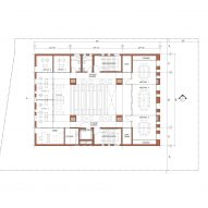 First floor plan of Center for Jewish Life at Drexel University by Stanley Saitowitz | Natoma Architects Inc.