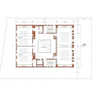 Second floor plan of Center for Jewish Life at Drexel University by Stanley Saitowitz | Natoma Architects Inc.
