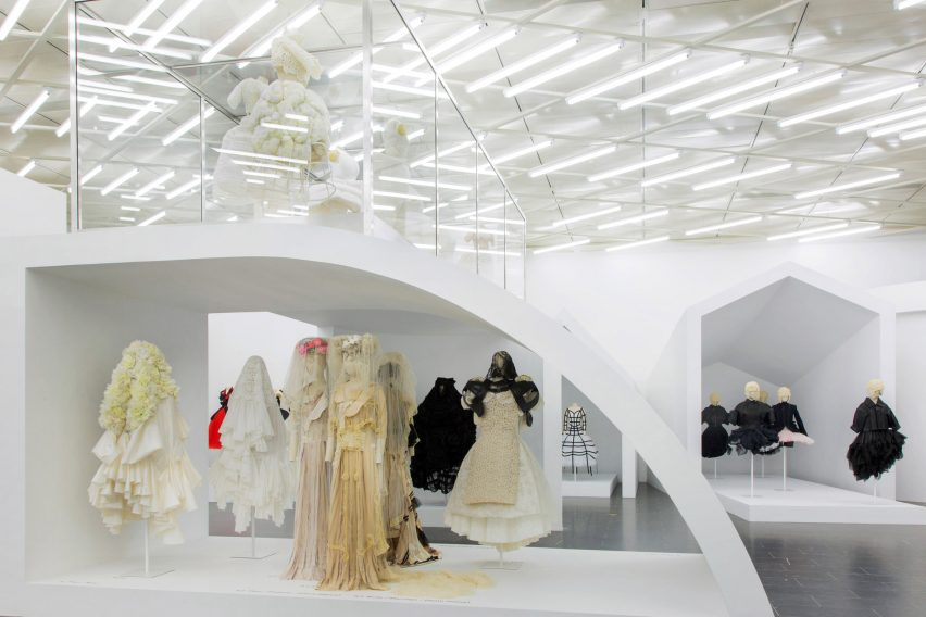 Comme des Garçons fashion exhibition at The Met in New York; Gallery View, Then/Now