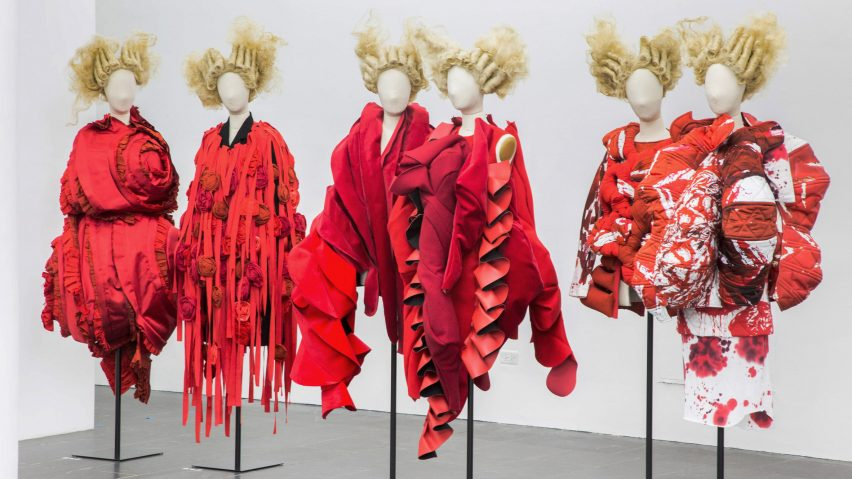 Comme des Garçons fashion exhibition at The Met in New York; Gallery View, Clothes/Not Clothes: War/Peace
