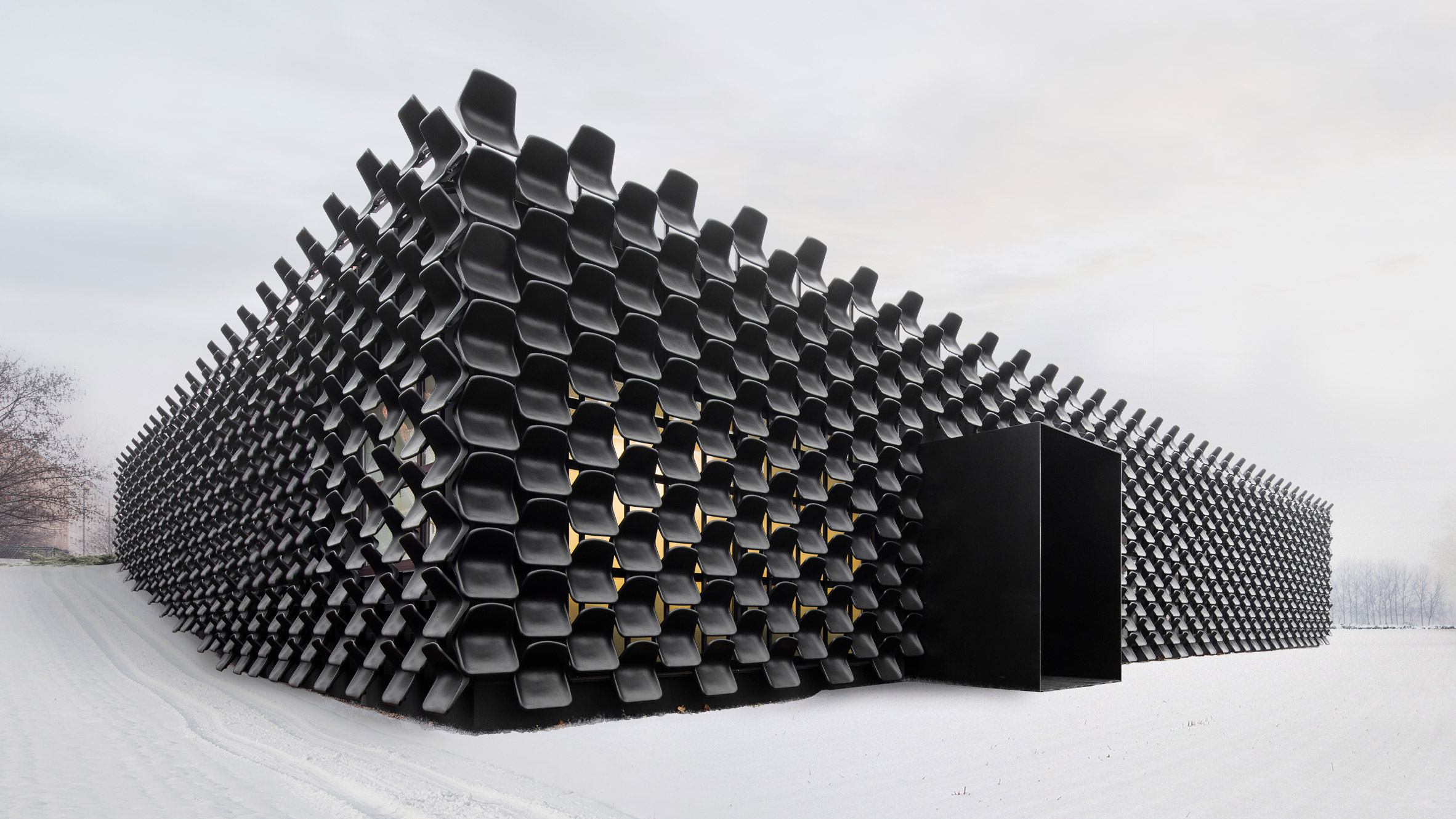 Chybik + Kristof uses 48 plastic chairs to clad Czech furniture ... | furniture shops brno