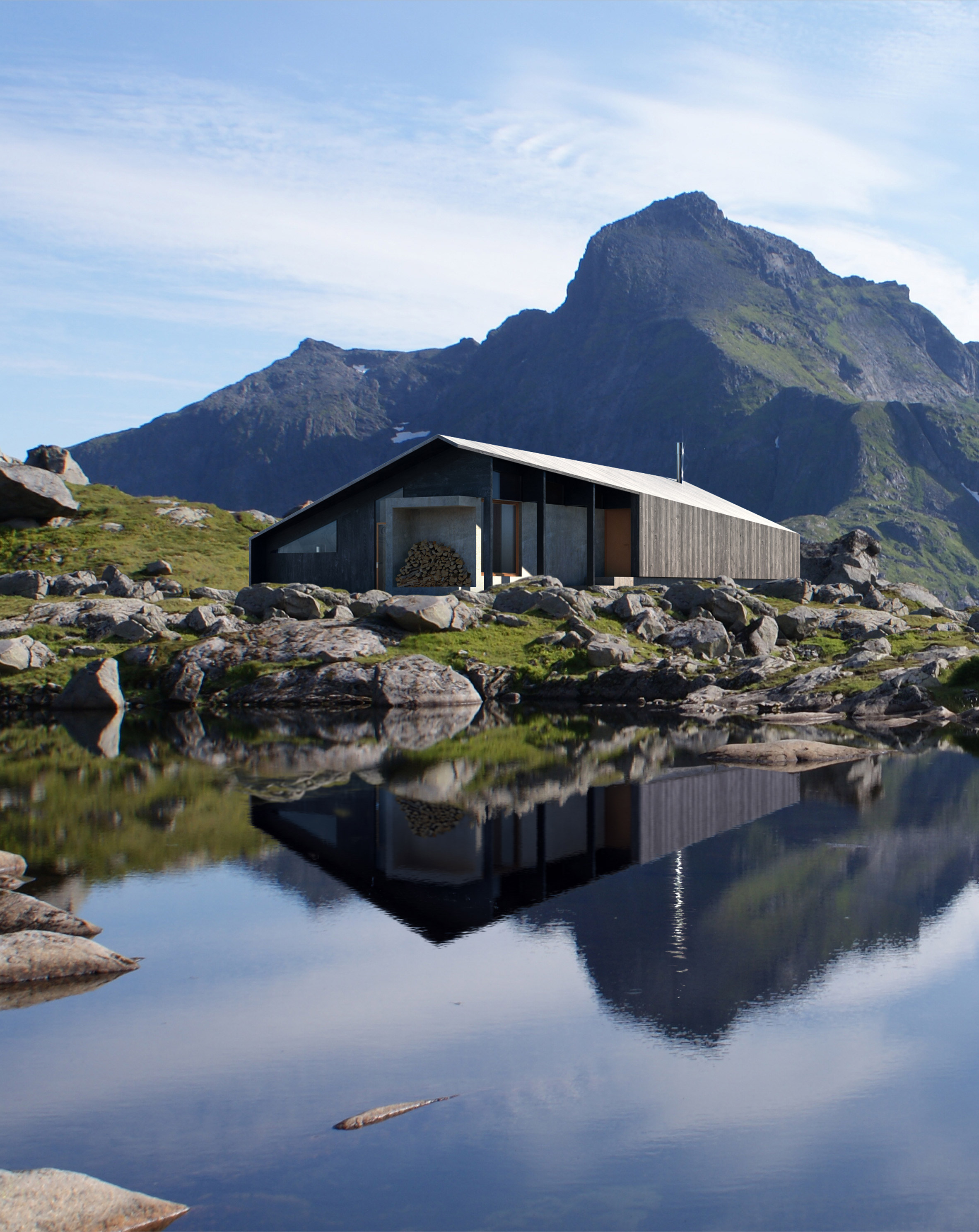 Snøhetta's prefab Gapahuk cabin references a traditional Norwegian mountain shelter