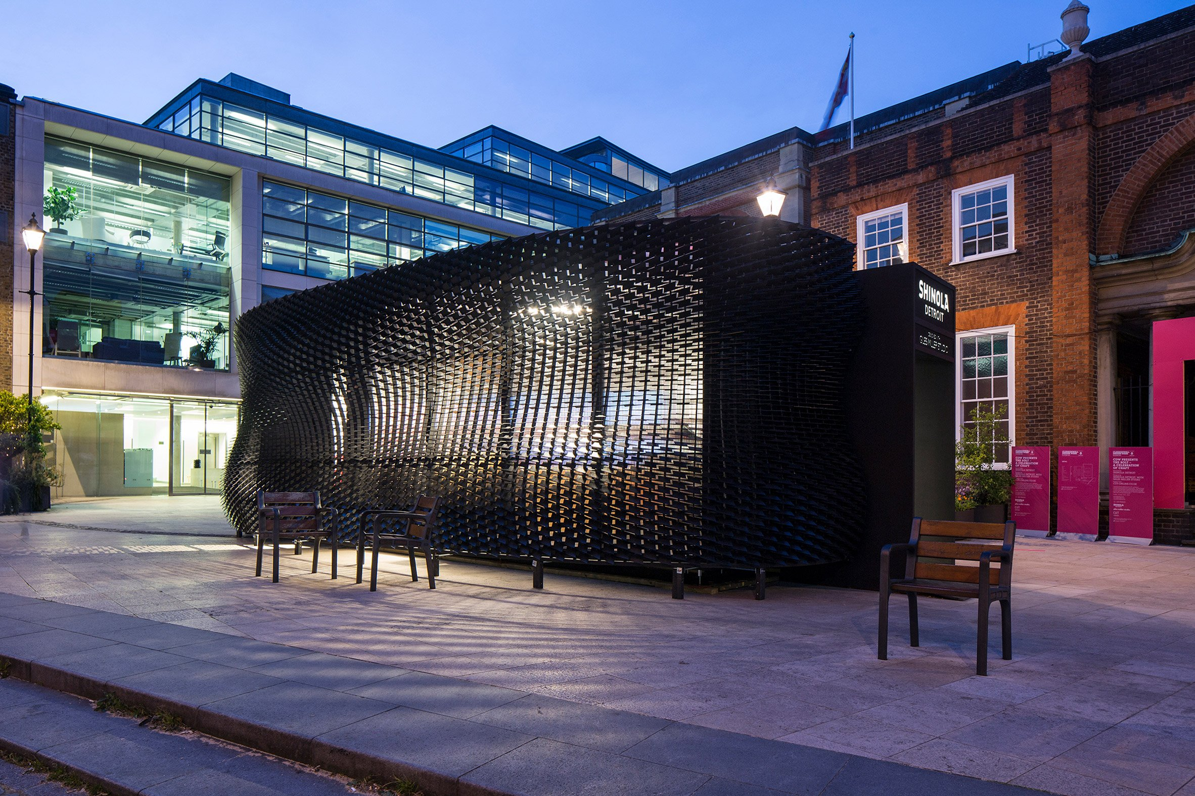 Giles Miller installs louvred plywood pavilion in London's Clerkenwell