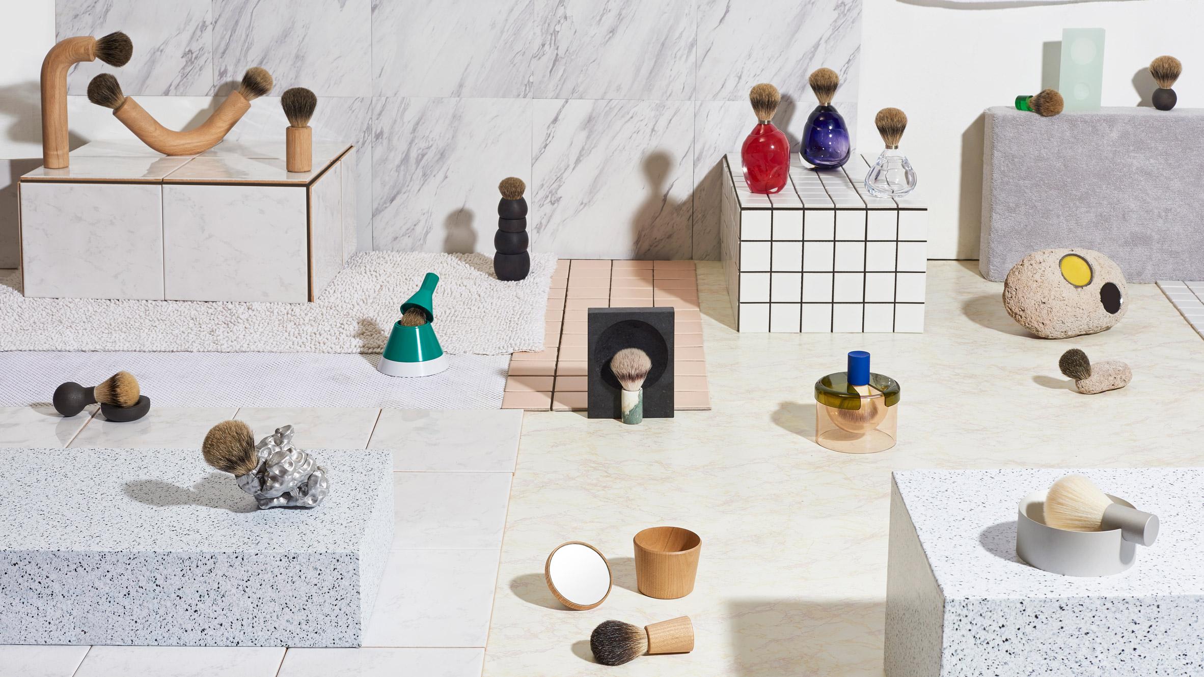 13 designers reimagine the shaving brush for Good Thing collection Good-thing-harrys-shaving-brushes-new-york-2017-design-products_dezeen_hero-1