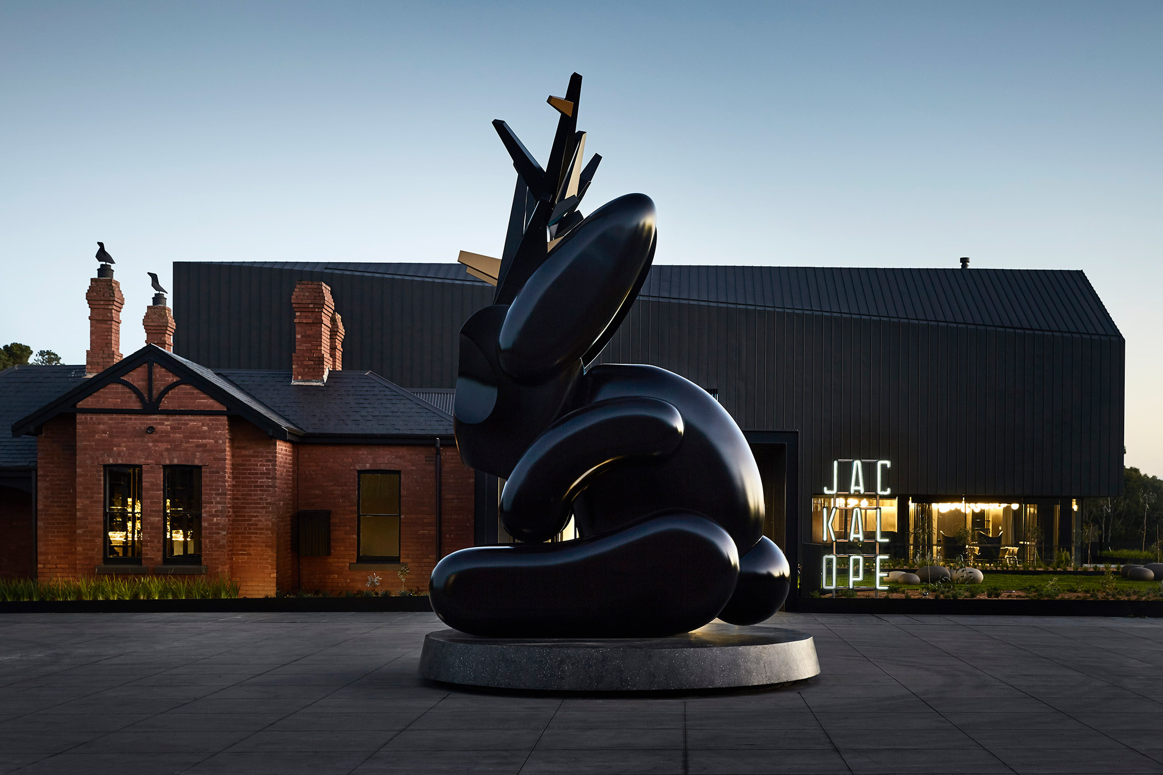 Carr creates dark and moody interiors for art-filled hotel in Australia's wine region
