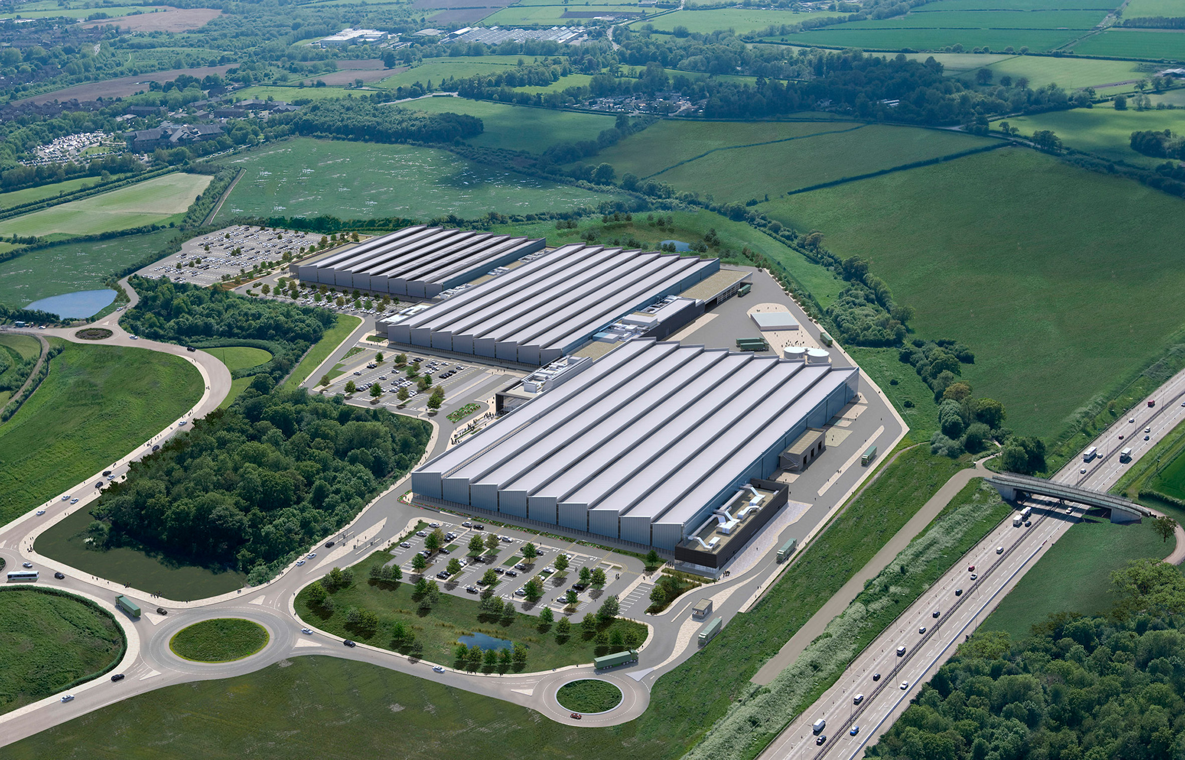 Arup Associates completes enormous day-lit factory for Jaguar Land Rover in England
