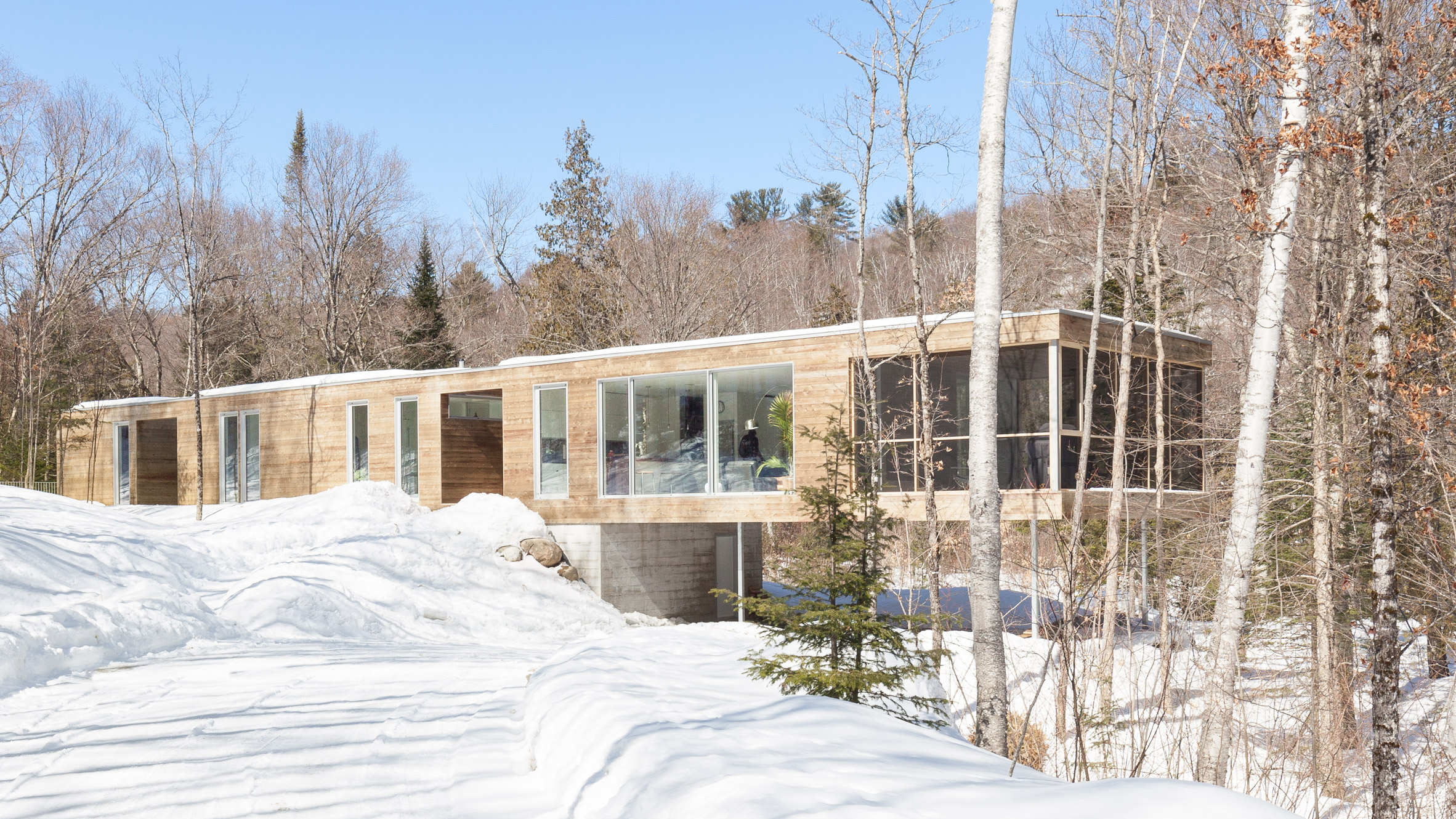 Atelier Pierre Thibault completes long narrow home in Quebec forest