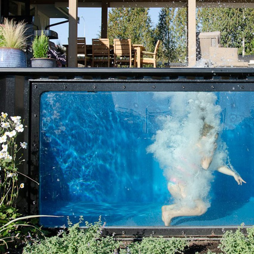 modpool cargo container converted into pool