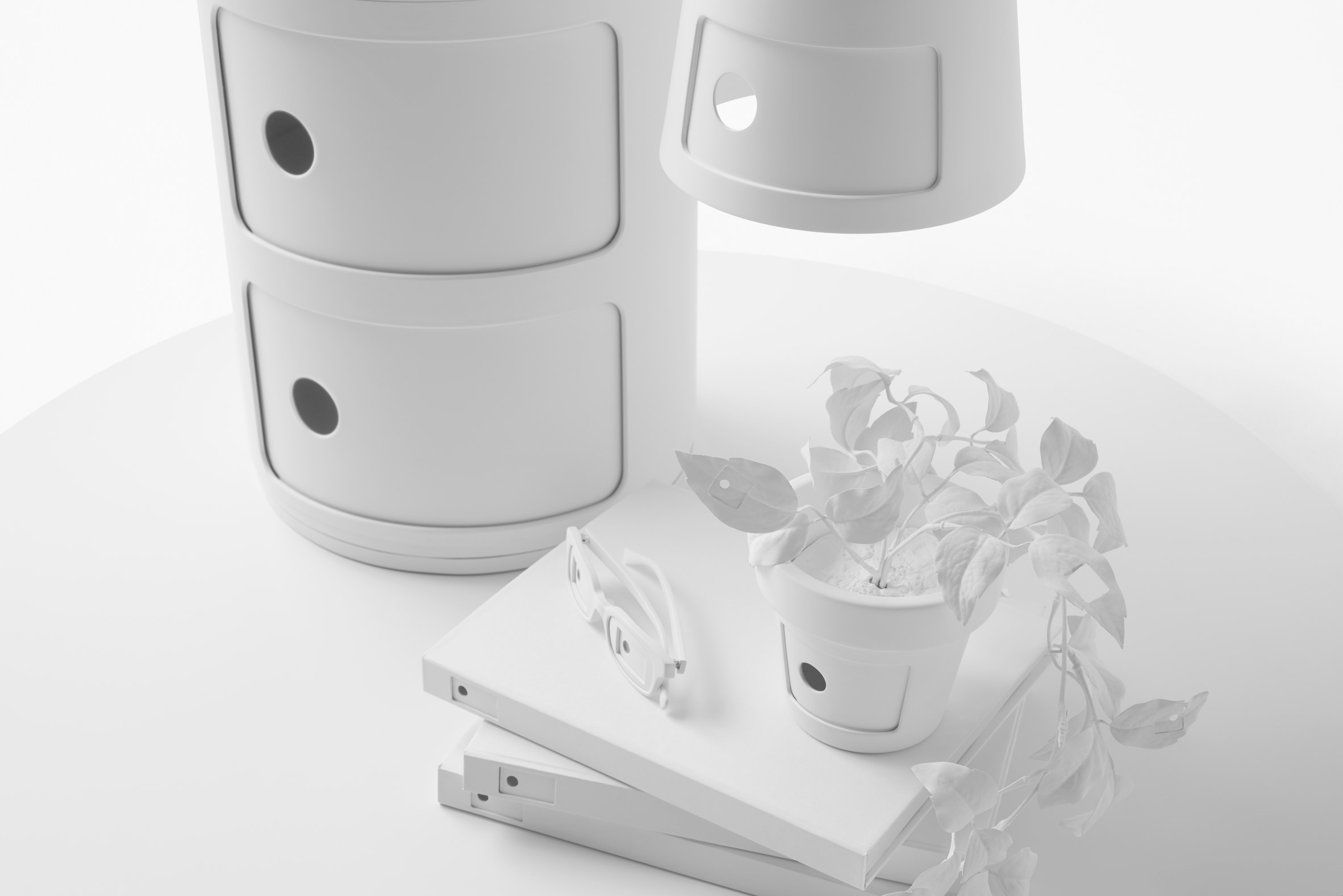 Nendo turns cups and plant pots into mini versions of Kartell's Componibili storage unit