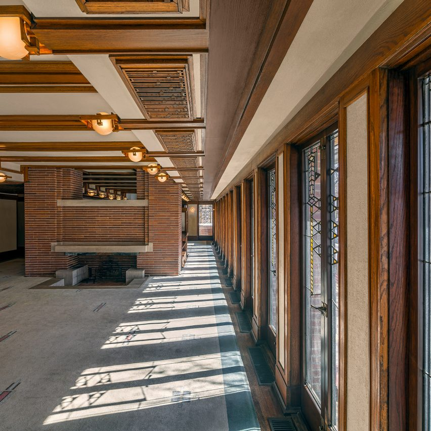 Robie House is one of the eight Frank Lloyd Wright buildings successfully nominated for heritage status